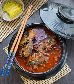 Authentic Korean Pork Bone Soup Gam ja tang has the perfect balance of spicy & rich flavors. It's the best to warm up with on a cold day - Love gamjatang!