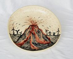 plate - vulcano and windmills, for my son Julian :)