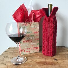 This hand knit wine bottle sweater is knit with a soft acrylic blend of yarn knit in cable style. Add a favorite bottl of wine to the wine bottle sleeve and you have the perfect gift for a holiday party or a housewarming gift. If youd prefer a different color of wine wrap, contact me for a custom order.  M E A S U R M E N T S:  Fits a standard shape, 750mL wine bottle. 9 tall, 12 including cuff.  W A S H: Machine or hand wash. Lay flat to air dry.  S H I P P I N G: Ready to Ship. Ships in…
