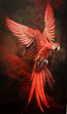 """Artist: Fay J; Oil 2016 Painting """"Magician's Parrot"""""""