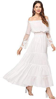 feb05133b4 Milumia Women s Off Shoulder Lace Contrast Ruffle Mesh Sleeve Shirred High  Waist Maxi Dress White S at Amazon Women s Clothing store