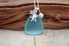 Stunning Aqua Sea Glass Jewelry, Engraved Necklace, Sea Glass Necklace, Seaglass Necklace, Beach Glass Jewelry, Wedding Jewelry, Bridal Jewelry, Bridesmaid Beach Jewelry, Gifts from Hawaii, Handmade on Maui by DRae Designs Other sea glass colors available here ➤