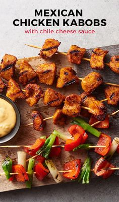 These cheesy Mexican chicken kabobs can't wait to start sizzling on your grill! Super easy and fun grilling recipe with your favorite guilty pleasure- velveeta! Because what's a cheese dipping sauce if there isn't any velveeta? We didn't want to find out.