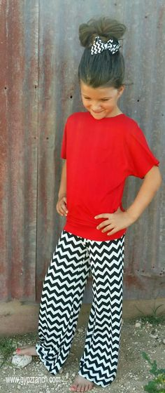 Kids Last Chance Black & White Chevron Palazzo Pants $28