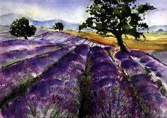 Aquarell Provence Lavendelfeld
