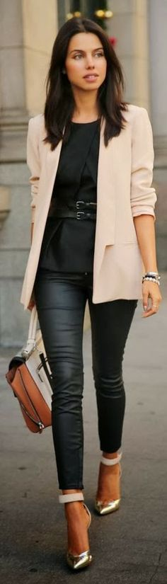 Adorable outfit with black waxed denim, top and light blazer