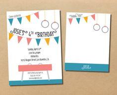 gymnastics & flags // birthday invitation and by riverandbridge, $30.00