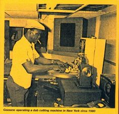 Coxsone operating a dub cutting machine in New York circa 1980.