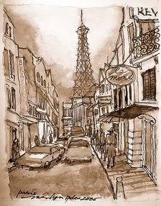 Paris Street with Eiffel Tower in the background
