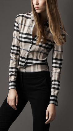 Burberry Slim Fit Check Shirt - Fab silky shirt. See through.....recommend a camisole/tank underneath.