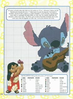 Lilo e Stitch Disney Stitch, Lilo Og Stitch, Beaded Cross Stitch, Cross Stitch Flowers, Cross Stitch Embroidery, Cross Stitch For Kids, Cross Stitch Baby, Pixar, Polly Pocket