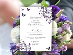 Printable Wedding invitation template Royal Purple by Oxee on Etsy, $5.00