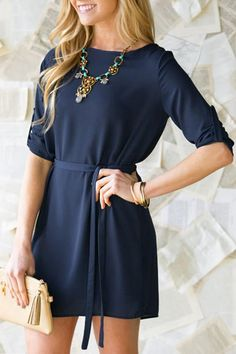 Brief Round Collar Long Sleeve Purplish Blue Self-Tie Women's Dress - like this neckline and sleeve