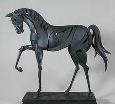 """Black Stallion"", painted steel, 5 feet tall.  Price: $16,500.  Contact The Sculpture Studio. www.thesculpturestudio.com"