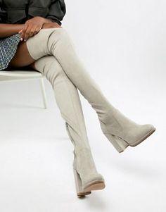 363d840974a ASOS DESIGN Kassidy heeled thigh high boots Vegan Boots