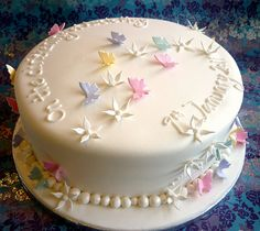I bet almost every girl just loves butterflies, so there's nothing wrong with making them one of these adorable butterfly cakes for their birthday. Check out this collection of amazing butterfly cakes! Fondant Cakes, Cupcake Cakes, Christening Cake Girls, Elsa Cakes, Cake Decorating With Fondant, Ice Cake, Butterfly Cakes, Valentine Cake, Novelty Cakes