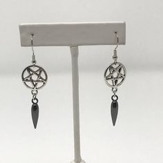 Pentagram Spike Drop Earrings ~ Silver Tone and Gunmetal ~ Witch ~ Witchcraft ~ Dark Magic ~ Goth ~ Gothic ~ Wiccan ~ Witchy ~ Star
