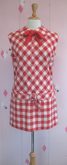 Vintage Red & White Gingham Dresses & Coat ღ