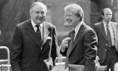 President Jimmy Carter, right, is greeted by James Callaghan, the British prime minister, during his 1977 visit to the UK. Georgie, British Prime Ministers, Jimmy Carter, Us Presidents, Newcastle, Donald Trump, Britain, Marie, Families