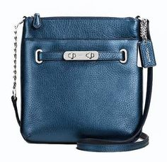 nice NWT 36502 Coach Swagger Metallic Leather Crossbody Messenger FREE SHIP! Blue NEW - For Sale View more at http://shipperscentral.com/wp/product/nwt-36502-coach-swagger-metallic-leather-crossbody-messenger-free-ship-blue-new-for-sale/