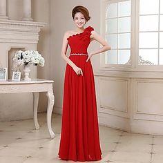 A-line One Shoulder Floor-length Georgette Evening Dress – USD $ 49.99