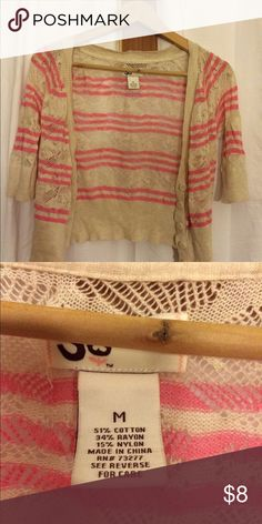 Short sleeve cardigan Short sleeve light weight pink and cream striped three button cardigan Sweaters Cardigans
