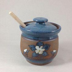 Honey Pot Columbine Honey Pot Stoneware by CharlotteLeePottery