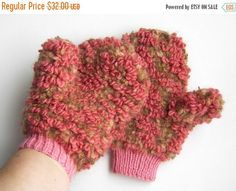 Hand Knitted Mittens  Pink and Light Brown by UnlimitedCraftworks