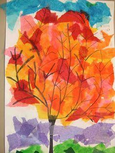 PoppyCat News: Tissue Paper Collage ~ Fall Trees ~ Grade (Water Filter Liquid Watercolor) Fall Art Projects, School Art Projects, Kindergarten Art, Preschool Art, Autumn Art, Autumn Trees, Tissue Paper Art, Paper Collage Art, 4th Grade Art