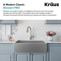 Kraus Stainless Steel Single Basin 16 Gauge Stainless Steel Kitchen Sink for Farmhouse Installations with Apron Front - Basin Rack and Basket Strainer Included Farmhouse Aprons, Farmhouse Sink Kitchen, New Kitchen, Kitchen Decor, Kitchen Ideas, Kitchen Sinks, Kitchen Designs, Kitchen Inspiration, Country Kitchen