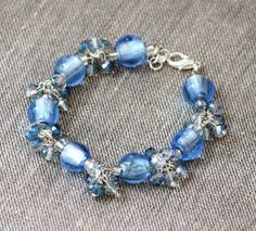 Bangle Baby Blue glass bracelet with light by HeartBeadsjewelry Bangle Bracelets, Bangles, Semi Precious Gemstones, Baby Blue, Glass Beads, Pearls, Facebook, Unique Jewelry, Crystals