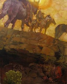 Bernie Fuchs   Taking Refuge,2003   oil on linen  32 x 23 1/2 inches    from Ride Like the Wind: a Tale of the Pony Express, Scholastic, Inc., 2004