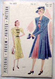 Pictorial Review 8829 | 1930s Dress & Coat