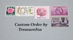 Reserved Custom Order for Lindsay. Unused Vintage US Postage Stamps for mailing wedding invitations by TreasureFox on Etsy