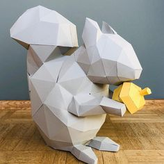 From LPobjects on Etsy: Make your own creative animal head from paper Christmas Paper Crafts, 3d Paper Crafts, Paper Toys, Diy Paper, Paper Crafting, Diy Crafts, Low Poly, Paper Bunny, Origami Folding