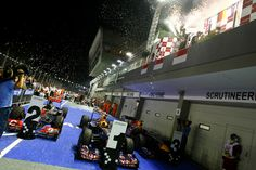 Amazing photography from the pit lane, underneath the podium as drivers celebrate at the Australian GP