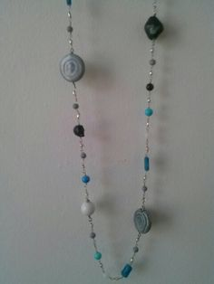 My first rosary wire wrap necklace. Inspired by the ocean.