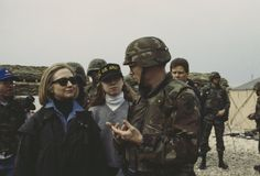 Photographer: Jill M. Dougherty, 1996 Former First Lady of the United States Hillary Clinton and her daughter Chelsea visit U.S. troops at Tuzla Air Base, Bosnia and Herzegovina on March 25, 1996.