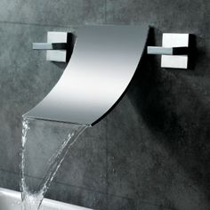 Waterfall bathroom faucet is one of the perfect choices of faucets for your bathroom. This kind of faucet is really unique that will make the appearance Contemporary Bathroom Sink Faucets, Bathroom Sink Taps, Bathroom Toilets, Contemporary Bathrooms, Bathroom Wall, Bathroom Cost, Taps Bath, Concrete Bathroom, Shower Bathroom