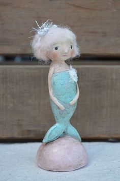 Mermaid C Folk Art Paperclay by apinchofprim on Etsy Mermaid Ornament, Unicorn Ornaments, Paper Mache Clay, Paper Mache Sculpture, Coastal Christmas Decor, Christmas Poems, Arts And Crafts, Paper Crafts, Unicorns And Mermaids