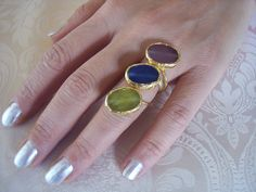 Handmade gold plated ring with triple agate with green, blue, purple colour by GardenOfLinda on Etsy