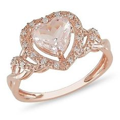 10k Rose Gold Morganite and Diamond Ring (.1 cttw, G-H Color, I2-I3 Clarity): Jewelry: Amazon.com