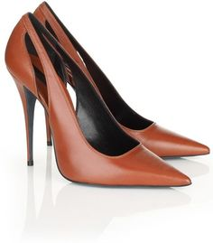 Narciso Rodriguez Cognac Leather Cut-Out Pumps High Heel Boots, Shoe Boots, Shoes Heels, Pretty Shoes, Cute Shoes, Shoe Wardrobe, Everyday Shoes, Brown Shoe, Brown Pumps