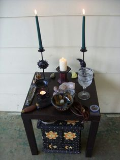 I like this idea, a table with a chest beneath, altar, sacred, crystals, space