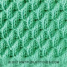 Left Diagonal Rib stitch pattern. Two basic stitches of Knit and Purl.