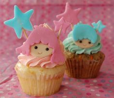 Today's cupcakes, courtesy of user Alteil, feature adorable twin boy, girl designs. Made special with colorful stars to center around the faces. Light hearted and I'm sure, mighty tasty.