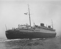 The steamship Europa of 1930, consort flagship of the Norddeutscher Lloyd (North German Lloyd), enters New York Harbour, 18 November 1931. Photograph taken from the Ambrose Lightship. Note the absence of flanking turbulence, the benefit of the bulbous bow. Image courtesy the private collection of John Cunard-Shutter.