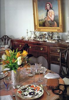 """Search by seller - FineThings4sale - our family estate items.   In this setting, """"Antique,"""" a rare Tiffany engraved flat silver pattern custom-designed in the 1890's. The sideboard holds, besides a modern Tiffany coffee service, covered tureen, and candlesticks, a repousse chased pitcher richly ornamented with Chinoiserie patterns. The pitcher, marked """"Tiffany, Yount  Ellis"""" and made around 1850, is an extraordinary and important example of mid nineteenth century American silver."""