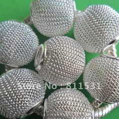 Wholesale 25MM Silver color 50PCS Wire Mesh ball beasd for DIY Shamballa basketball wives jewelry!!-in Beads from Jewelry on Aliexpress.com