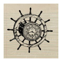 Digital Download Vintage Ship Wheel with Clock by ChangingVases, $1.50